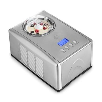 Edelstahl Eismaschine Emma mit selbstkühlendem Kompressor von Springlane Kitchen 1,5 L Ice-Cream-Maker mit Abschaltautomatik, entnehmbarem Eisbehälter mit Antihaftversiegelung und LCD Display -