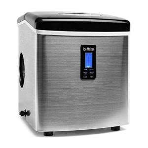 Klarstein KB18 Mr. Black-Frost Eiswürfelautomat Eiswürfelspender Edelstahl Eismaschine (für Eiswürfel in 3 Größen, 150W, Timer, Produktionsdauer: ca. 6-15 min) schwarz-silber -